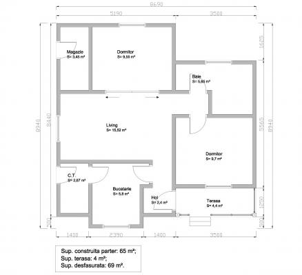 Structure plans of a 65sqm framing house